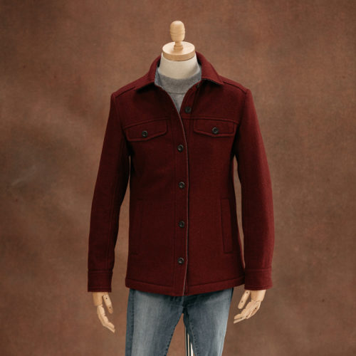 red wool overshirt for women