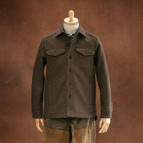 brown wool heavyweight overshirt herne