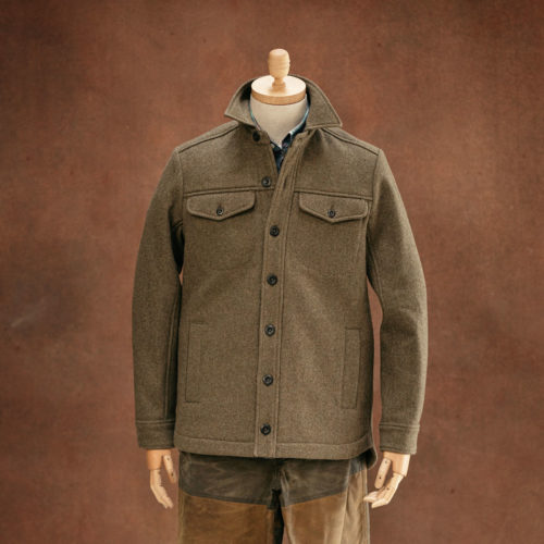 bison heavyweight wool overshirt khaki