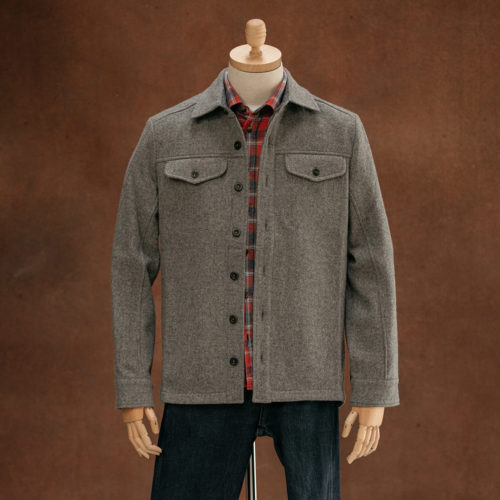 mens grey wool overshirt