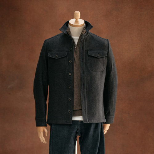grey blue wool overshirt