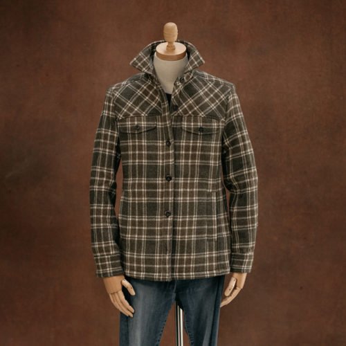 green check women's wool overshirt